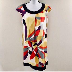 Nine West 100% Silk Abstract Shift Dress Sz 8